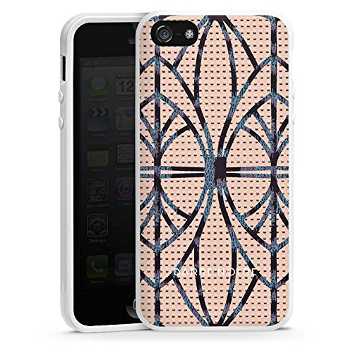 Apple iPhone 5 Housse étui coque protection Look cuir Leo BARRE NOIRE Housse en silicone blanc