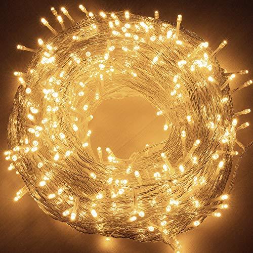 Quntis 50m Licht Lichterkette mit 250 LED-Lämpchen, Hohe Qualität, 8 Lichteffekte, Innen und Außen, Wasserdicht, Dekoration für Party, Garten, Weihnachten, Halloween,...