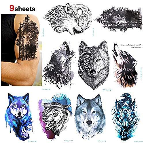 9 Stücke Wolf Temporäre Tätowierung Für Frauen Männer Fake Tattoo Body Art Aufkleber Wasserdicht Temporäre Transfer Tattoos Für Erwachsene (3 Amigos Kostüm)