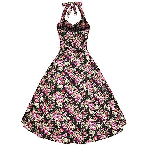 Moollyfox Femme Robe de Bal Floral Vintage 1950S Pin-up à 'Audrey Hepburn' Classique Style Halter Robe Dos Nu Noir Rose