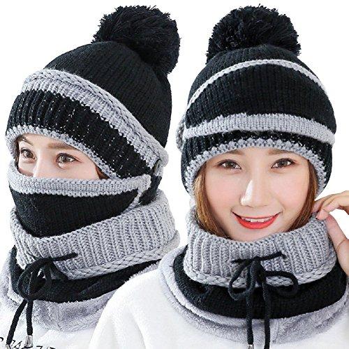 sehrGo Anzug 3 in 1 Frauen Damen-Hat Schal Maske Set Warm Gestrickter Wolle Hat Plus Samt & Haarverdichtung für Winter, Herbst und Frühling (Schwarz)