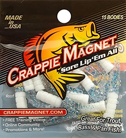 Leland Lures White/Chartreuse/Silver Crappie Magnet Fishing Bait 15 Pack