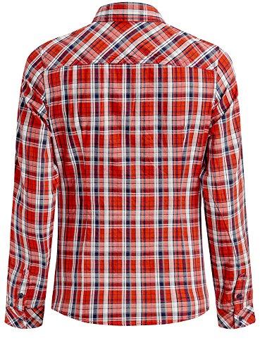 oodji Ultra Femme Chemise en Coton à Carreaux Rouge (4579C)