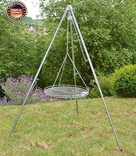 Dreibein Schwenkgrill Edelstahl stufenlos höhenverstellbar inkl. 45 cm Edelstahl-Rost (130)