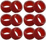 SKAVIJ NRB11_12 Rojo Servilleteros de Cristal para decoración Fiesta cumpleaños (12 Piezas)