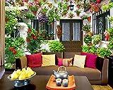 Qinmon 3D Wandbild Tapete Dekoration Wandtattoo Kundenspezifischer Privater Garten-Haus Fernsehhintergrund Wand-Aufkleber Wohnzimmer Schlafzimmer 250Cmx170Cm