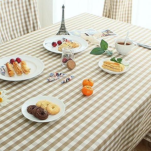 European-Style Giardino Caffè Plaid Tessuto moderno minimalista Tavolo da pranzo rotondo tovaglia tovaglie tavolino, Cotone, Coffee color small lattice lace tablecloth, 120*180cm