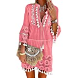 ORANDESIGNE Damen Kleider Strand Elegant Casual A-Linie Kleid Langarm Sommerkleider Boho V-Ausschnitt Quaste Tunika Mini Klei