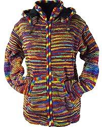 Guru-Shop Strickjacke Wolljacke Nepaljacke, Herren, Mehrfarbig, Wolle, Size:XXL, Jacken, Strickjacken, Ponchos Alternative Bekleidung