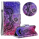 Gurt Brieftasche für Samsung Galaxy S10,Laser Wallet Handyhülle für Samsung Galaxy S10,Moiky Ultra Dünn Stilvoll Hälfte Blume Muster Geprägt Klappbar Stand Silikon Handytasche