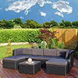 Rattan Modular Corner Sofa Set Garden Conservatory Furniture 5 To 9 Pcs INCLUDES GARDEN FURNITURE COVER (Acapulco, Black with Dark Cushions)