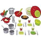 Jouets Ecoiffier – 2621 - Set de cuisine pour enfants 100 % Chef – Viande, légumes et ustensiles de cuisine – 47 pièces – Dès