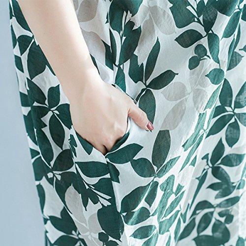 JFin Grande Taille De Feuilles Mobiles Impression Mince Robe Longue Moyenne green