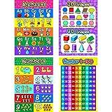 Affiche Préscolaire Éducative pour Tout-Petits et Enfants avec Points de Colle pour Garderie - Enseigner Nombres Alphabet Couleurs Jours et Plus, 16 x 11 Pouces (Style C, 4 Pièces)
