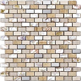 Mosaico de Vidrio y Nácar en Malla DEC-47082993016, Beige, 8 mm, 30 x 30 cm