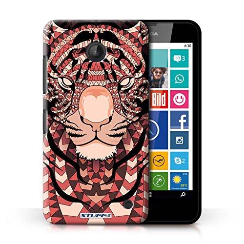 Coque en plastique pour Nokia Lumia 635 Collection Motif Animaux Aztec - Loup-Rouge Tigre-Rouge