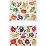 TOYMYTOY 2PCS Puzzle en Bois Jouet Jeux Educatif Apprentissage pour Enfants Puzzle Encastrement Cadeaux( Fruits et Légumes)