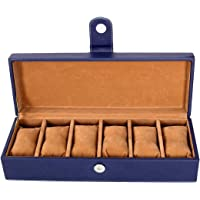 Leather Gifts Rich PU Leather 6 Slots Watch Box