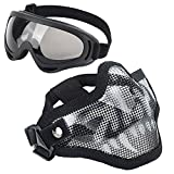 Softair Masken, Stahl Half Face Mesh Blumenkasten Totenkopf Set mit Brille, Tactical Maske für Airsoft Paintball
