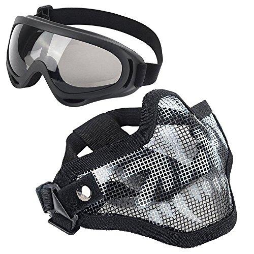 Softair Masken, Stahl Half Face Mesh Blumenkasten Totenkopf Set mit Brille, Tactical Maske für Airsoft (Schädel Teen Gesichter Kostüme)