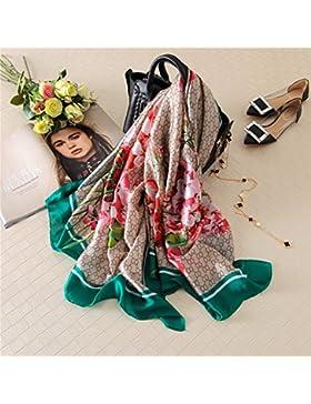 Las mujeres bufandas de seda Pañuelo de seda Floral Flor Mantón Imprimir Hijab,verde,180*90 cm.