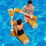 Samber 2 Stück Aufblasbare Holzmaserung Boot Pool Floß Wassersport Wasser Spielzeug, Bequem und Tragbar, Geeignet für Strand oder Pool Urlaub,Aufblasbares Pool-Battle-Set