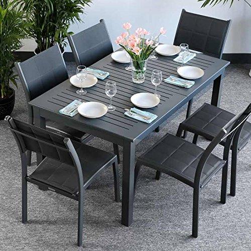 Table Lottie et 6 chaises Lea - GRIS | Table extensible 210cm pour l'intérieur et l'extérieur