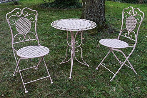 Salon de jardin en fer 1 table et 2 chaises style antique rose - Pinkchair