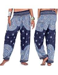 TODAYTOP Pantalones de Yoga Mujeres Imprimir Pantalones de Baile de Yoga Harlan Pantalones Holgados de Pierna Ancha Travel Lounge Festival Pantalones de Playa Harem