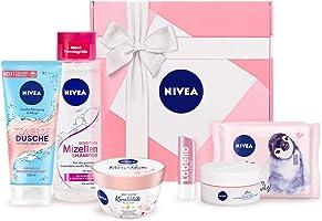 NIVEA Geschenkbox Rosa, Pflegeset mit Shampoo, Reinigungstüchern, Tagespflege, Pflegedusche und mehr, Geschenkset mit...