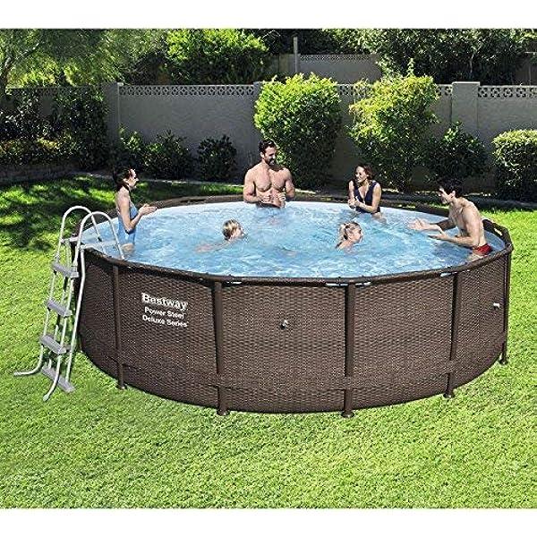 Bargains Galore Bestway 14ft Rattan Swimming Pool Steel Outdoor Garden Paddling Filter Pump Amazon Co Uk Garden Outdoors