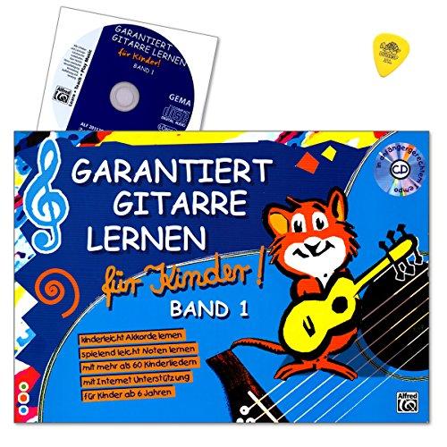 ernen für Kinder Band 1 - kinderleichte Gitarrenschule (ab 6 Jahren) ist der kindgerechte Einstieg in das Gitarrenspiel - Lehrbuch mit CD, Internet Unterstützung und Dunlop Plek (Halloween-musik-spiele)