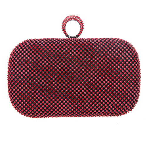Bonjanvye Knuckles Shining Clutch Purses for Women Handbag and Evening Bags Multicolor Red