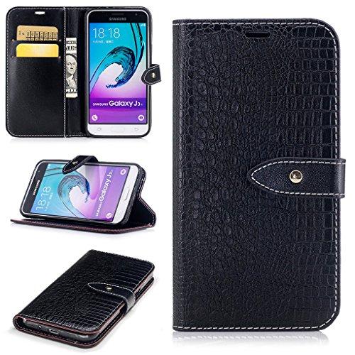Samsung Galaxy J3 / J3 (2016) Hülle, SATURCASE Prämie Krokodil Stil PU Lederhülle Ledertasche Magnetverschluss Flip Brieftasche Handy Tasche Schutzhülle Handyhülle mit Standfunktion Kartenfächer und Bargeld für Samsung Galaxy J3 / J3 (2016) (Schwarz) (Shell-geschenk-karte)