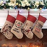 Athoinsu Brand Traditional Christmas Stockings Set of 4 Santa Reindeer Snowman Penguin with 3D Tech, 45cm