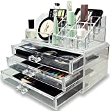 #3: Bulfyss Premium Clear Acrylic Jewellery & Cosmetic Storage Display Boxes Double Layer Beauty Vanity Jewellery Clear Acrylic Make Up Cosmetic display Stand and organizer rack Two Pieces Set
