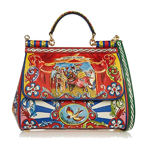 ECTIC 2017 New Women Sicilian printing satchel real leather platinum handbag fashion shoulder Messenger bag Borse Messenger (Red stripes) Prince style