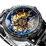 Alienwork IK mechanische Automatik Armbanduhr Skelett schwarz 98226-12 - 2