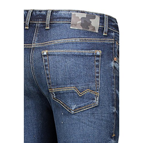 MAC Herren Loose Fit Jeans Arne Pipe Heavy Authentic Used H696 dark blue authe