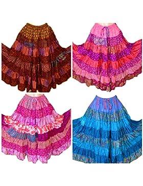 7 Yardas Tribales Gitanas Falda con gradas Maxi Faldas de Danza del Vientre Mezcla de Seda Banjara se Adapta a...