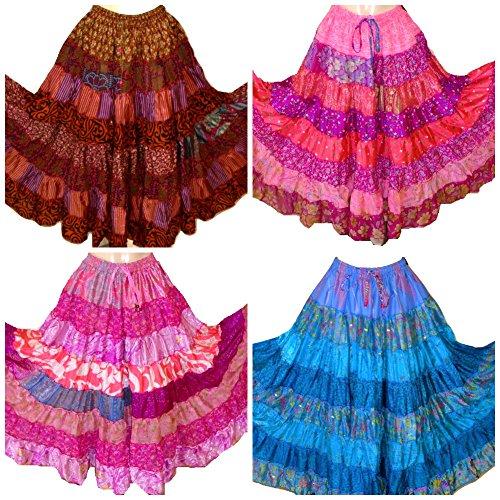7 Yard Tribal Gypsy Maxi Tiered Rock Bauchtanz Röcke Seide Mischung Banjara passt S M L, eine Größe 34-44 (3er Pack) -