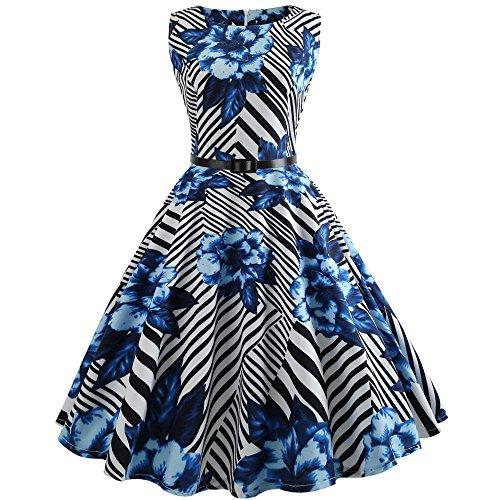 Lange Ärmel Minikleid Strandkleid Partykleid Rundhals Rock Mädchen Blumen Drucken Kleider Frauen Mode Kleid Kurz Hemdkleid Blusekleid Kleidung (Hard Rock Baby-kleidung)