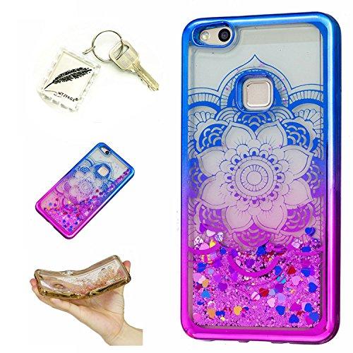 Preisvergleich Produktbild Silikonsoftshell TPU Hülle für Huawei P10 Lite (5,2 Zoll) Tasche Schutz Hülle Case Cover Etui Strass Schutz schutzhülle Bumper Schale Silicone case+Exquisite key chain X1#KF (9)