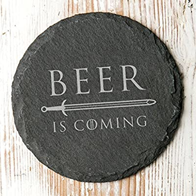 Beer is Coming Rustic Slate Drinks Coaster - Game of Thrones Gift for Men