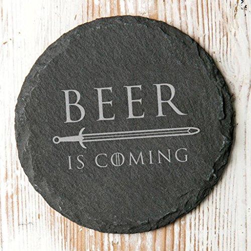 Beer Is Coming rústico pizarra bebidas posavasos–juego de tronos regalo para hombres