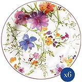 Villeroy & Boch Mariefleur Basic Lot de 6 assiettes à petit-déjeuner en porcelaine Blanc/multicolore 21 cm