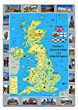This is a vibrant and fun children's map of the United Kingdom. The map features the British Isles with major cities and roads along with illustrations that show major landmarks and characteristics. Featuring high quality photos of famous locations, ...