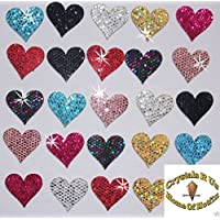 48 Mix Colours Fabric Sequin 20mm Hearts Iron-On