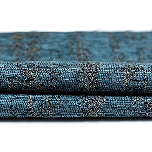 McAlister Textiles Strukturierter Chenille | Stoff als Meterware in Denim Blau | Per Meter | Deko Textil Material für Vorhänge, Bezüge, Decken, Polster - Strukturierte Chenille