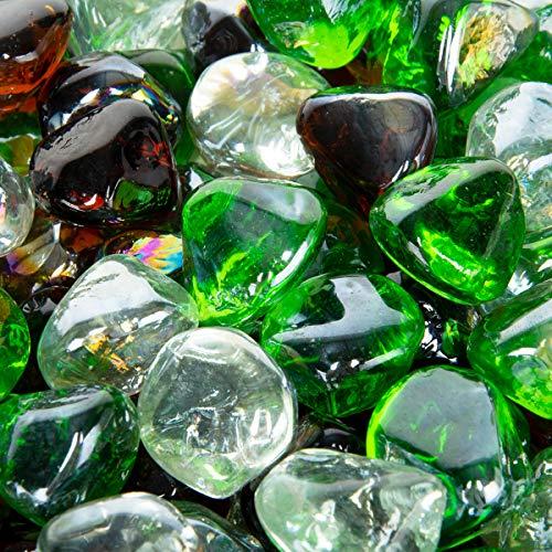 Stanbroil 4,5 kg Feuerglas-Diamanten, Smaragdgrün, Kristalleis, Bernstein-Lüster für Innen- und Außenbereich, Gasfeuerstellen und Kamine -